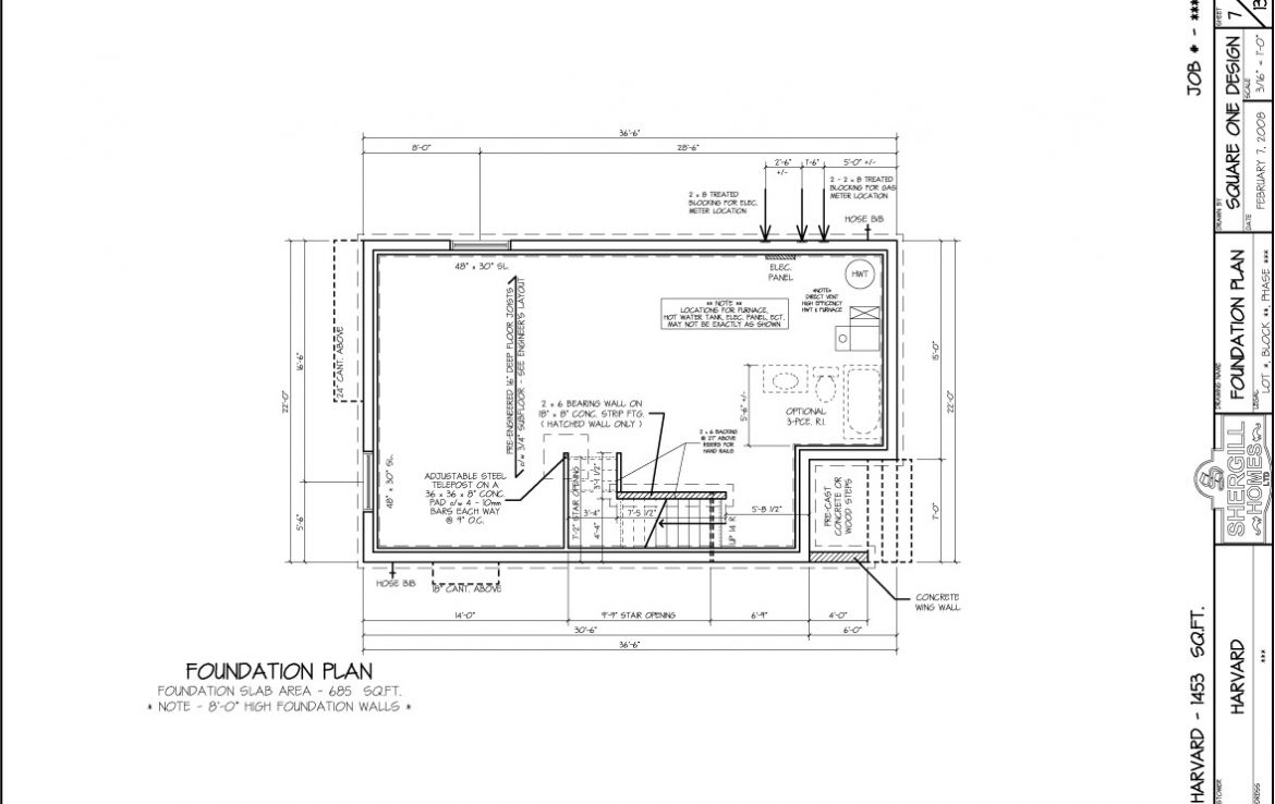 Shergill Homes - Plans for Fort McMurray / Fort Mac; The Harvard - 1453 sq ft Two Storey Foundation Plan