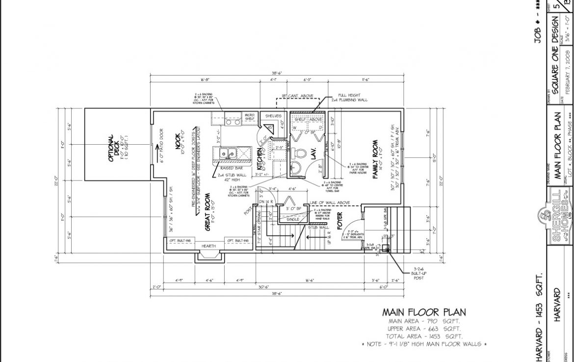 Shergill Homes - Plans for Fort McMurray / Fort Mac; The Harvard - 1453 sq ft two storey main floor plan