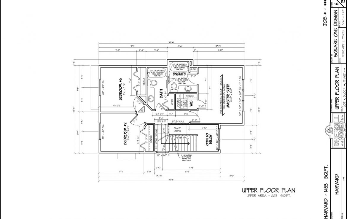 Shergill Homes - Plans for Fort McMurray / Fort Mac; The Harvard - 1453 sq ft two storey upper floor plan
