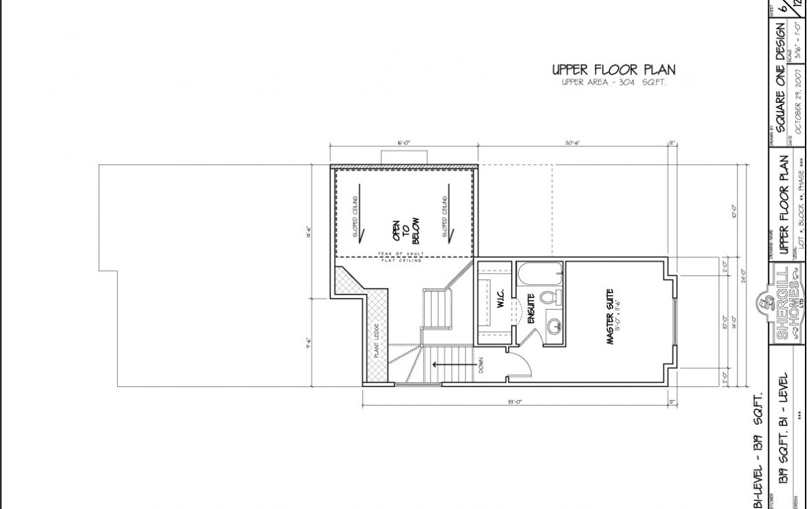 Shergill Homes - Plans for Fort McMurray / Fort Mac; The Manchester 1319 sq ft Two Storey Upper Floor Plan
