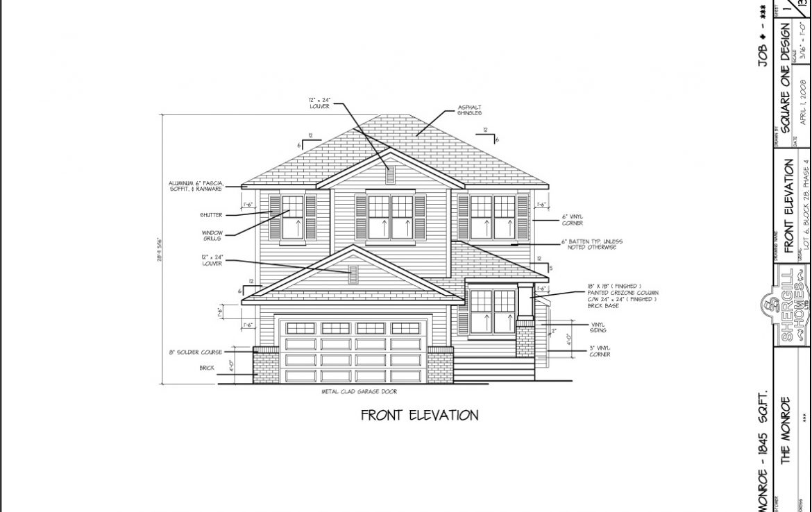Shergill Homes - Plans for Fort McMurray / Fort Mac; The Monroe 1845 sqft Two Storey Front Elevation