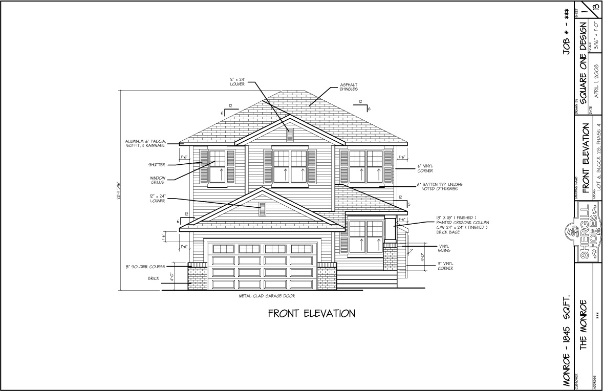 Front Elevation Showroom : The monroe sq ft two storey shergill homes