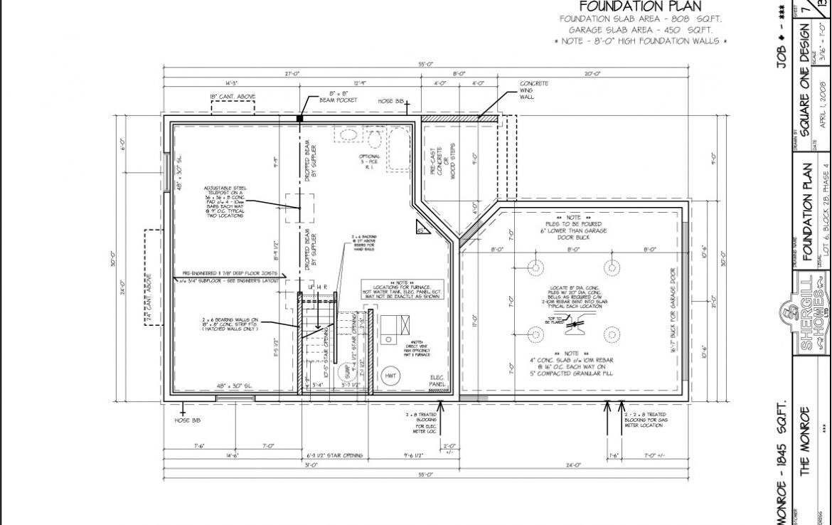 Shergill Homes - Plans for Fort McMurray / Fort Mac; The Monroe 1845 sqft Two Storey Foundation Plan