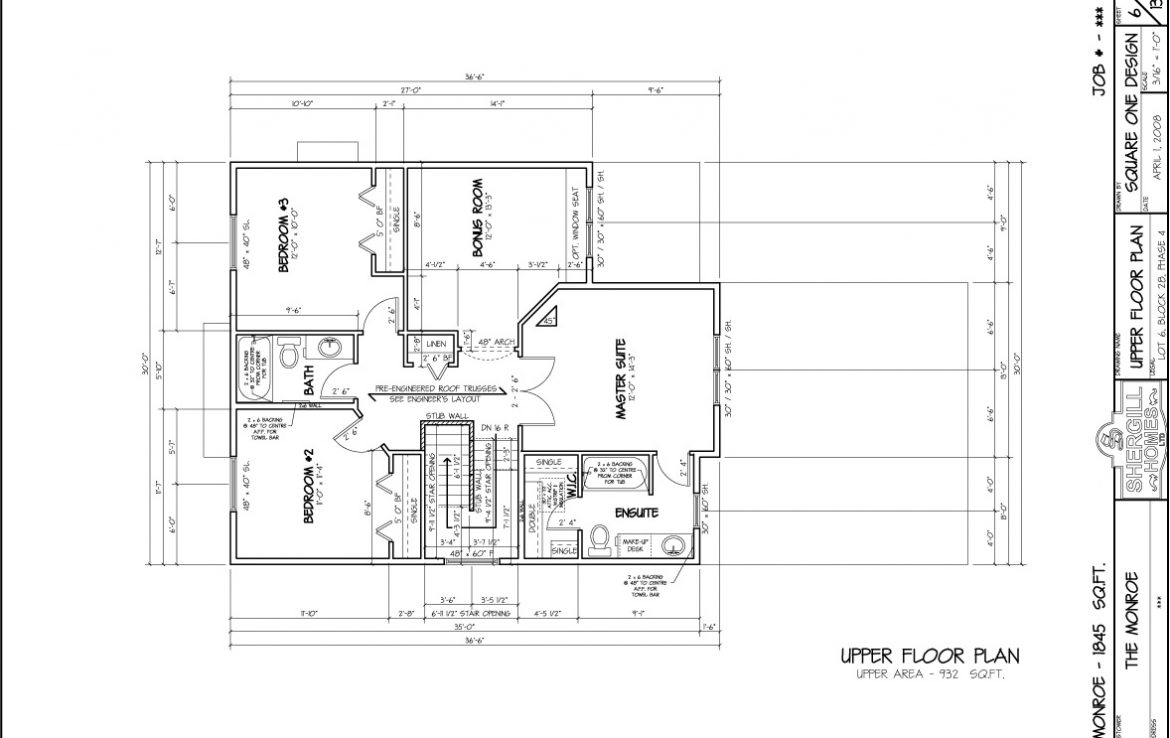 Shergill Homes - Plans for Fort McMurray / Fort Mac; The Monroe 1845 sqft Two Storey Upper Floor plan