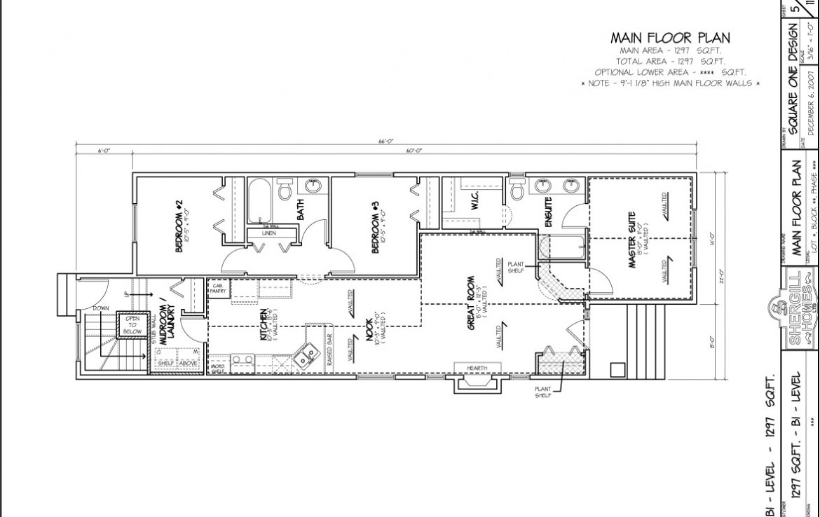 Shergill Homes - Plans for Fort McMurray / Fort Mac; The Rockford Bi-Level Bungalow 1297 sq. ft full floor plan