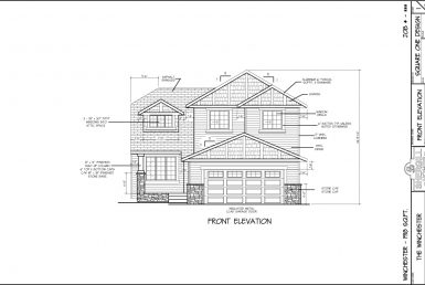Shergill Homes - Plans for Fort McMurray / Fort Mac; ; The Winchester 1918 sqft Two Storey Front Elevation