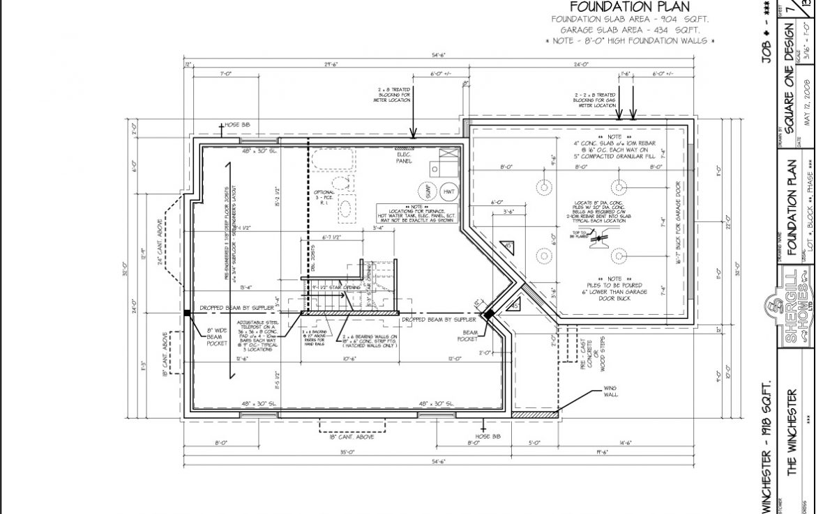 Shergill Homes - Plans for Fort McMurray / Fort Mac; The Winchester 1918 sqft Two Storey Foundation Plan