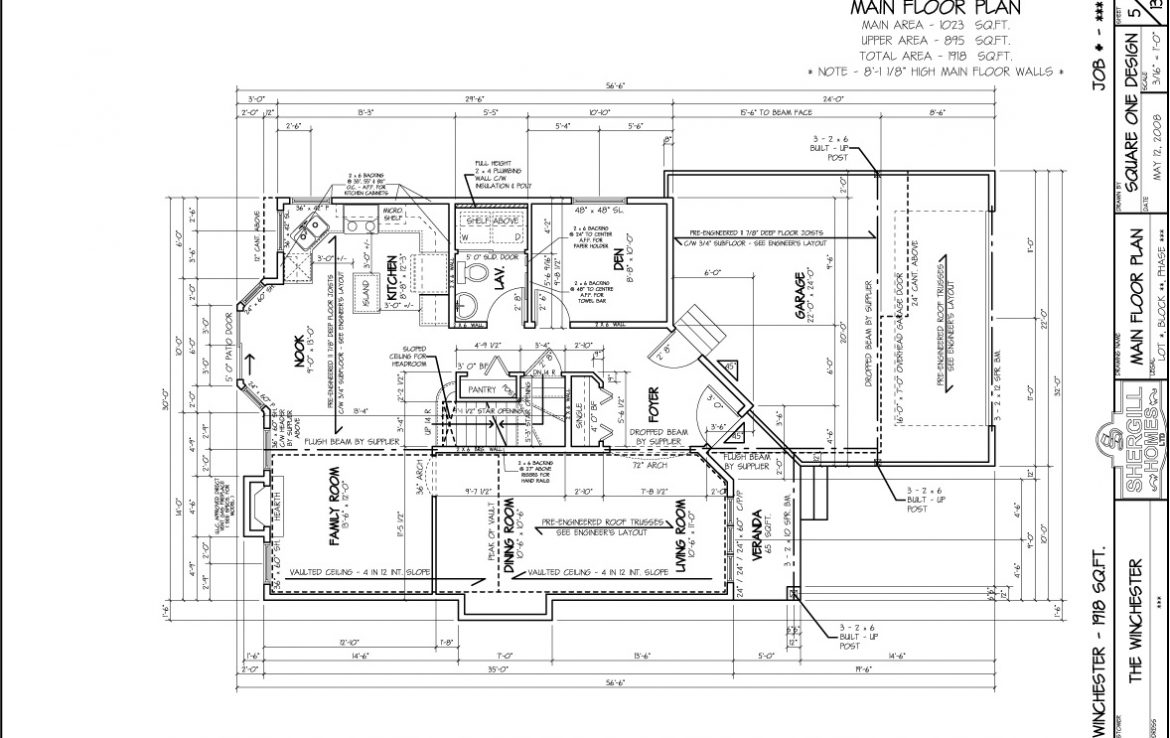 Shergill Homes - Plans for Fort McMurray / Fort Mac; ; The Winchester 1918 sqft Two Storey Main Floor Plan