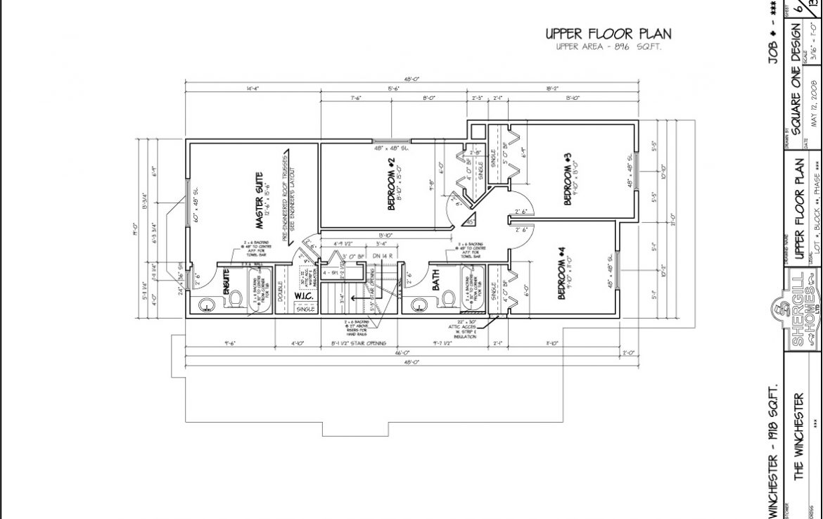 Shergill Homes - Plans for Fort McMurray / Fort Mac; The Winchester 1918 sqft Two Storey Upper Floor Plan