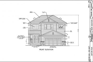Shergill Homes - Plans for Fort McMurray / Fort Mac; Two Storey 1702 sq. ft Front View