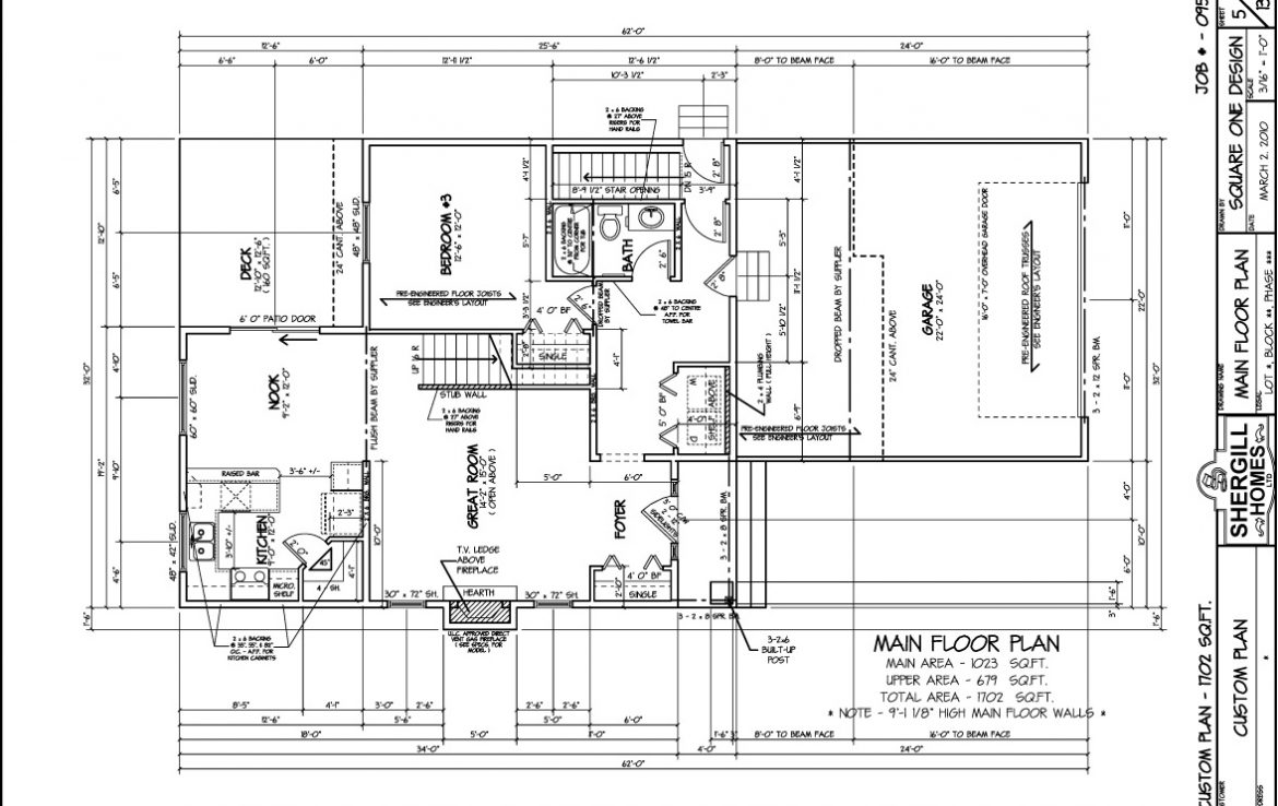 Shergill Homes - Plans for Fort McMurray / Fort Mac; Two Storey 1702 sq. ft Main Floorplan