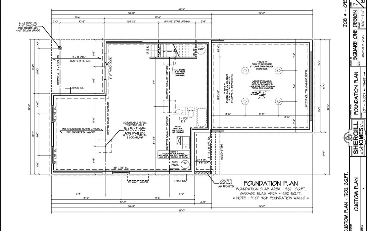 Shergill Homes - Plans for Fort McMurray / Fort Mac; Two Storey 1702 sq. ft foundation plan