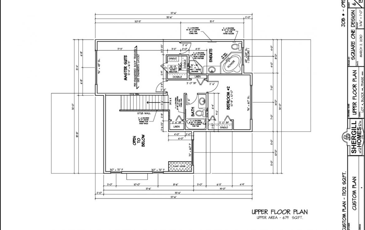 Shergill Homes - Plans for Fort McMurray / Fort Mac; Two Storey 1702 sq. ft Upper Level plan