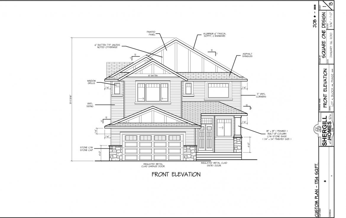 Shergill Homes - Plans for Fort McMurray / Fort Mac; Two Storey 1754 sq ft Front View