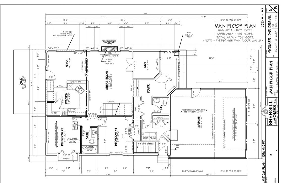 Shergill Homes - Plans for Fort McMurray / Fort Mac; Two Storey 1754 sq ft Main Floor Plan