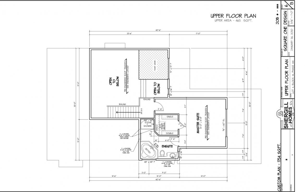 Shergill Homes - Plans for Fort McMurray / Fort Mac; Two Storey 1754 sq ft Upper Level Floor Plan