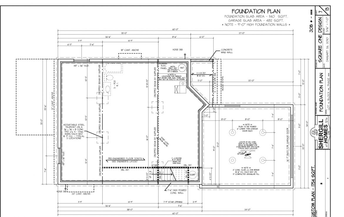 Shergill Homes - Plans for Fort McMurray / Fort Mac; ; Two Storey 1754 sq ft Foundation Plan