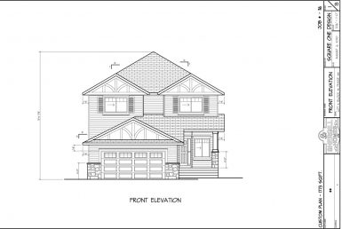 Shergill Homes - Plans for Fort McMurray / Fort Mac; Two Storey 1773 sq ft Front View