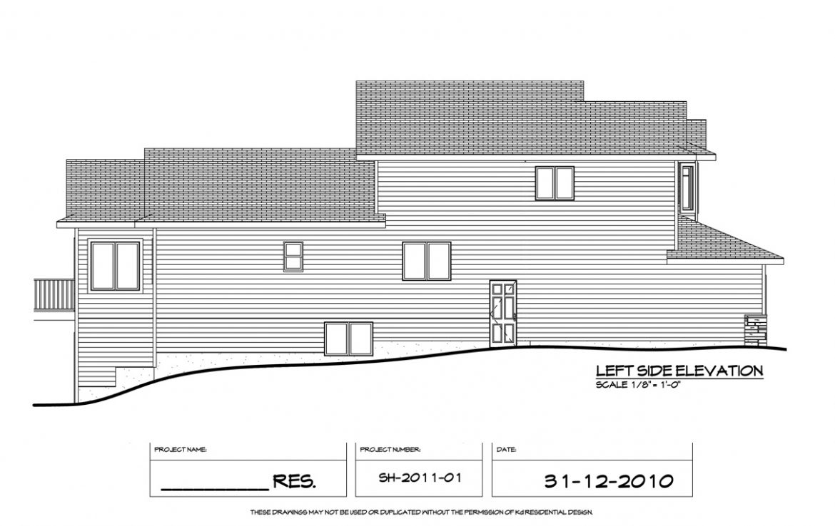 Shergill Homes - Plans for Fort McMurray / Fort Mac; Two Storey 1805 sq ft left side elevation
