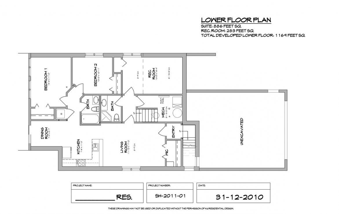Shergill Homes - Plans for Fort McMurray / Fort Mac; Two Storey 1805 sq ft Lower Floor Plan