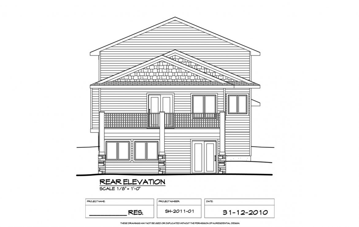 Shergill Homes - Plans for Fort McMurray / Fort Mac; Two Storey 1805 sq ft rear elevation