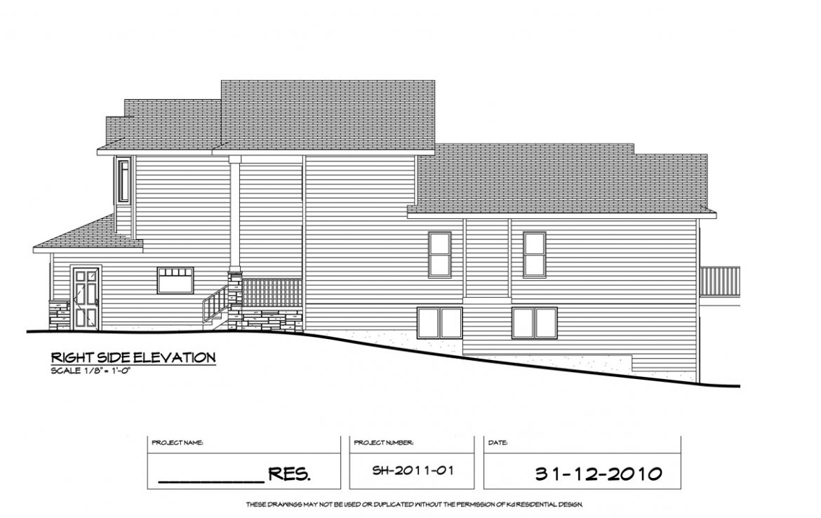 Shergill Homes - Plans for Fort McMurray / Fort Mac; Two Storey 1805 sq ft Right Side elevation