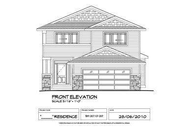 Shergill Homes - Plans for Fort McMurray / Fort Mac; Two Storey 1805 sq ft front elevation