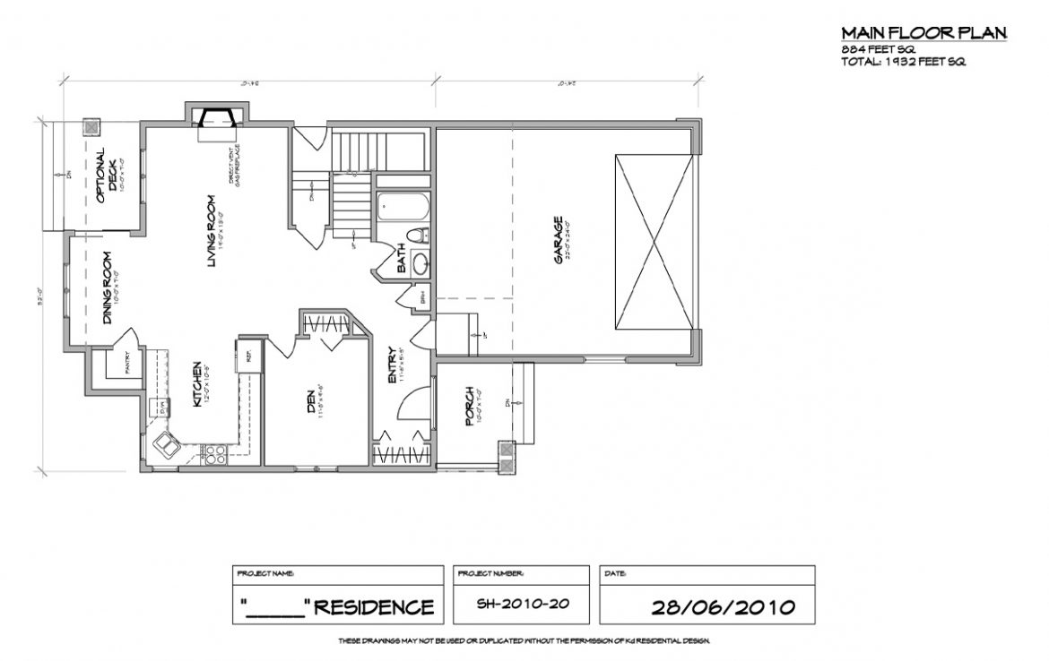Shergill Homes - Plans for Fort McMurray / Fort Mac; Two Storey 1805 sq ft main floor plan