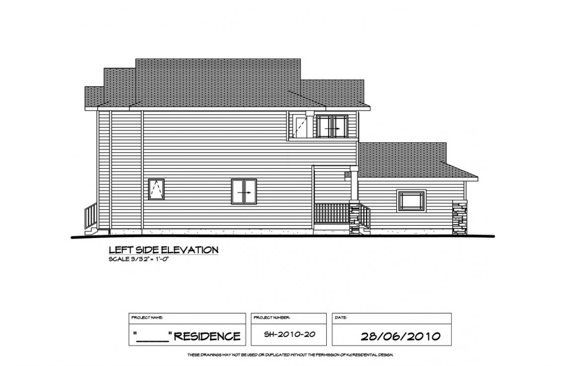Shergill Homes - Plans for Fort McMurray / Fort Mac; Two Storey 1805 sq ft left elevation