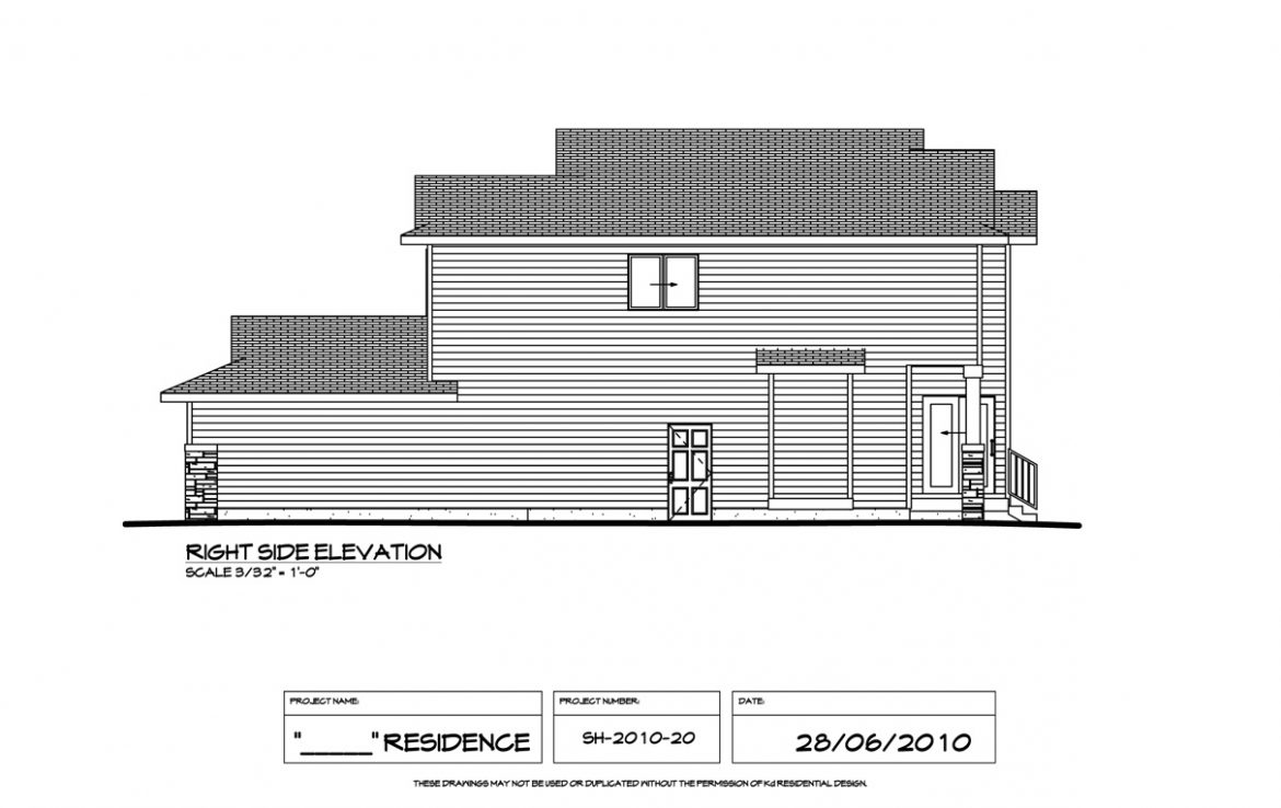 Shergill Homes - Plans for Fort McMurray / Fort Mac; Two Storey 1805 sq ft right elevation