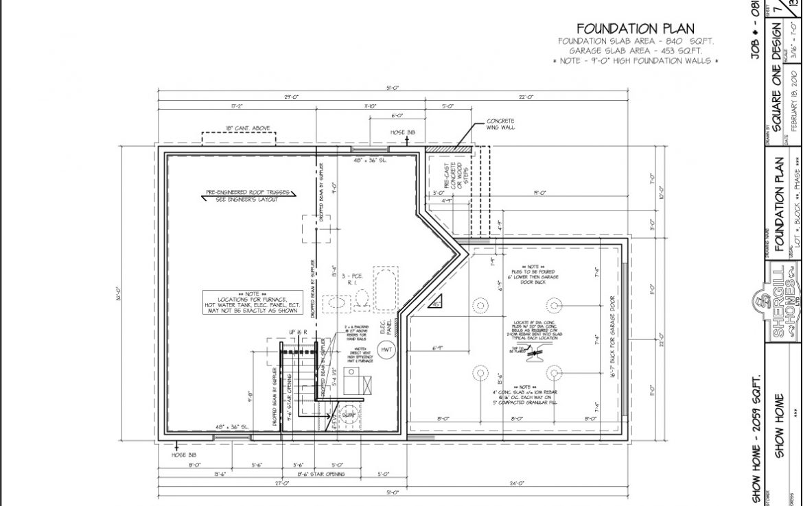 Shergill Homes - Plans for Fort McMurray / Fort Mac; ; Two Storey 2059 sq ft foundation