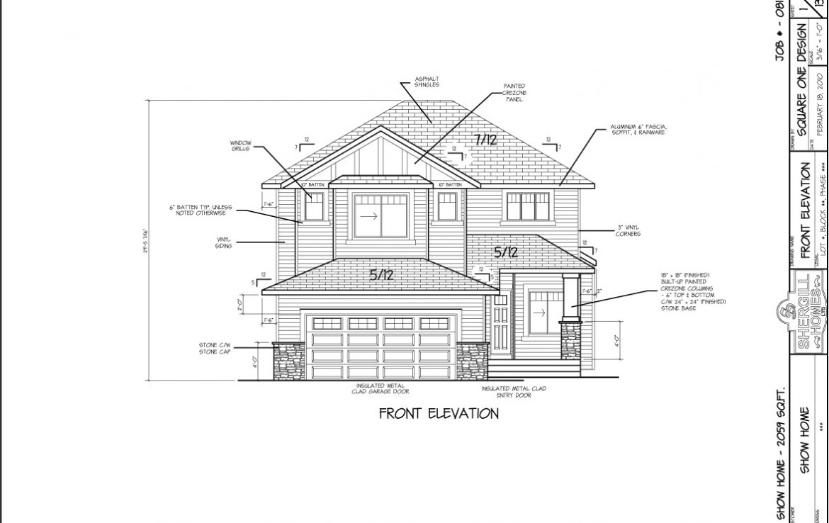 Shergill Homes - Plans for Fort McMurray / Fort Mac; ; Two Storey 2059 sq ft front elevation