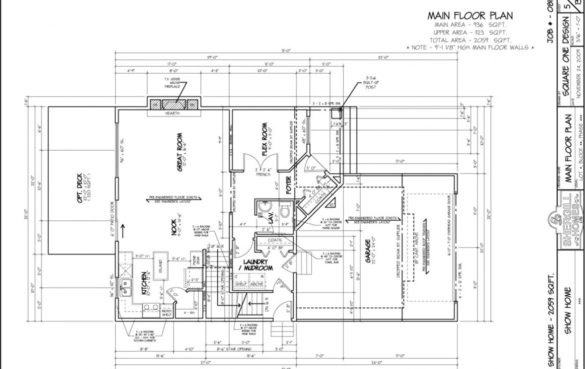 Shergill Homes - Plans for Fort McMurray / Fort Mac; Two Storey 2059 sq ft main floor plan