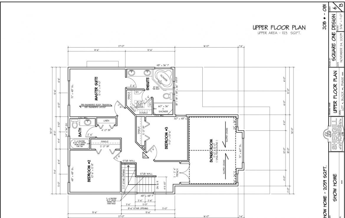 Shergill Homes - Plans for Fort McMurray / Fort Mac; Two Storey 2059 sq ft upper floor plan