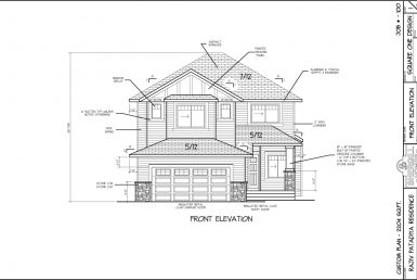 Shergill Homes - Plans for Fort McMurray / Fort Mac; Two Storey 2204 sq ft front elevation