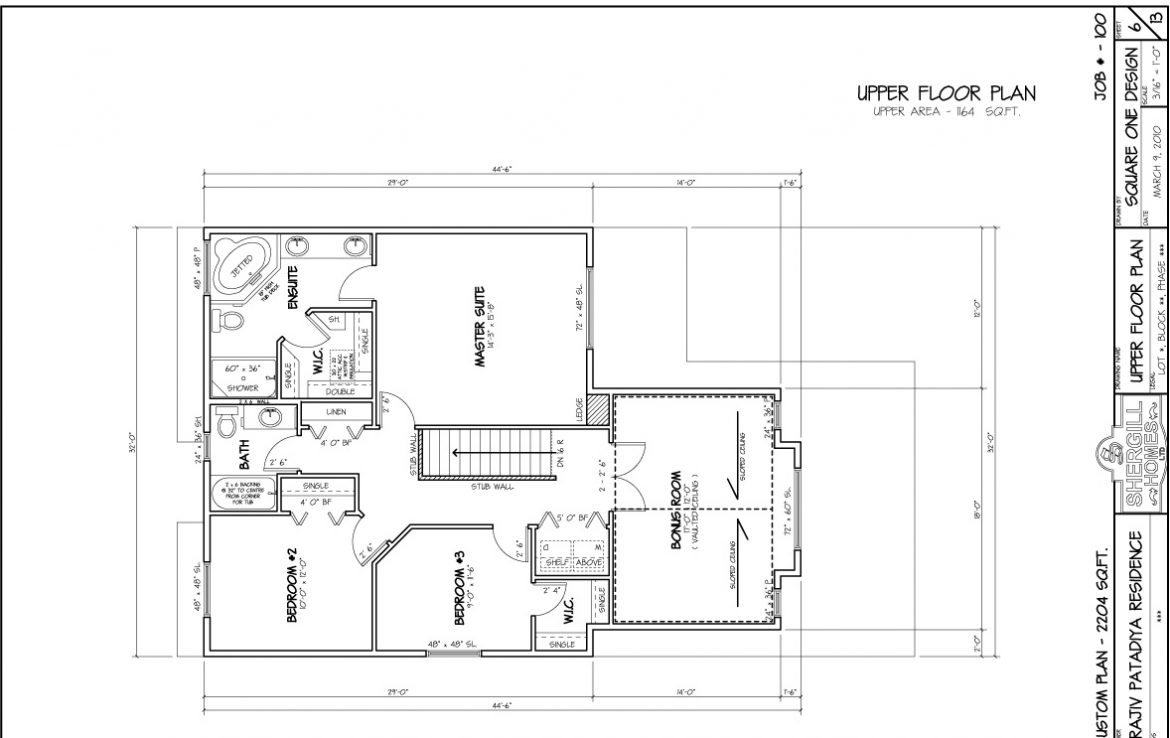 Shergill Homes - Plans for Fort McMurray / Fort Mac; Two Storey 2204 sq ft upper floor plan