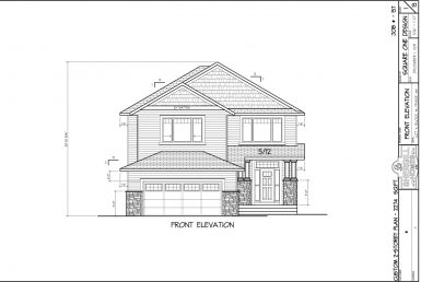 Shergill Homes - Plans for Fort McMurray / Fort Mac; Two Storey 2274 sq ft front elevation