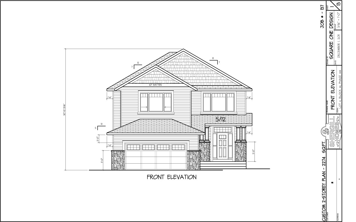 Front Elevation Engineering Drawing : Two storey sq ft shergill homes