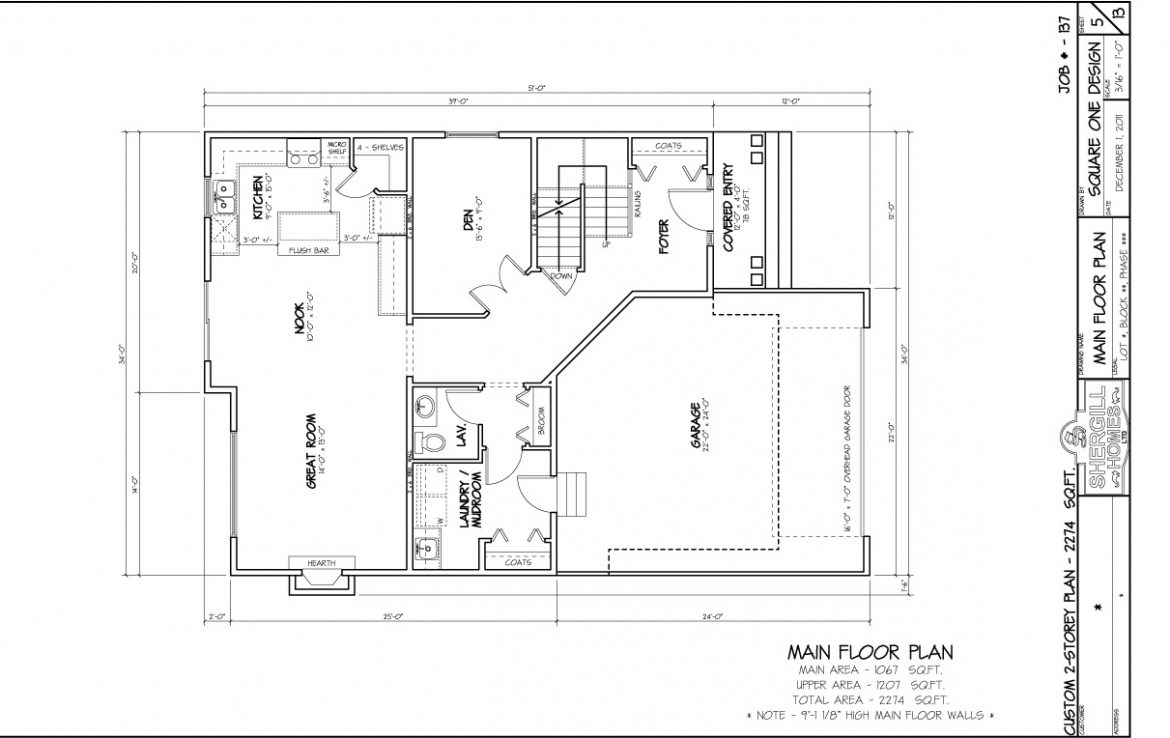 Shergill Homes - Plans for Fort McMurray / Fort Mac; ; Two Storey 2274 sq ft main floor plan