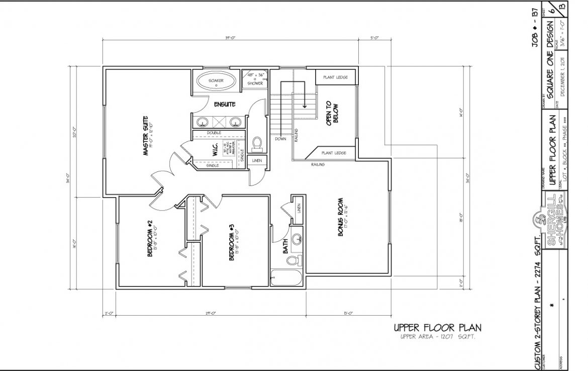 Shergill Homes - Plans for Fort McMurray / Fort Mac; Two Storey 2274 sq ft upper level floor plan