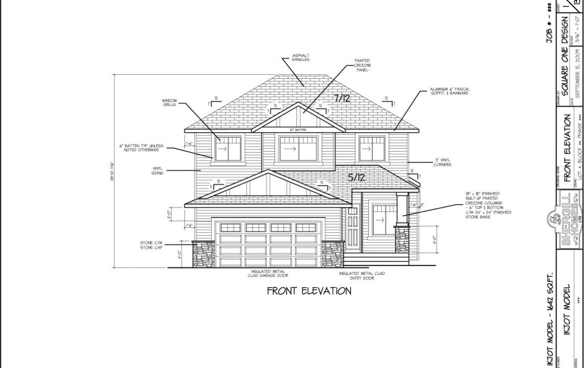 Shergill Homes - Plans for Fort McMurray / Fort Mac; Two Storey IKJOT 1642 sq ft front elevation