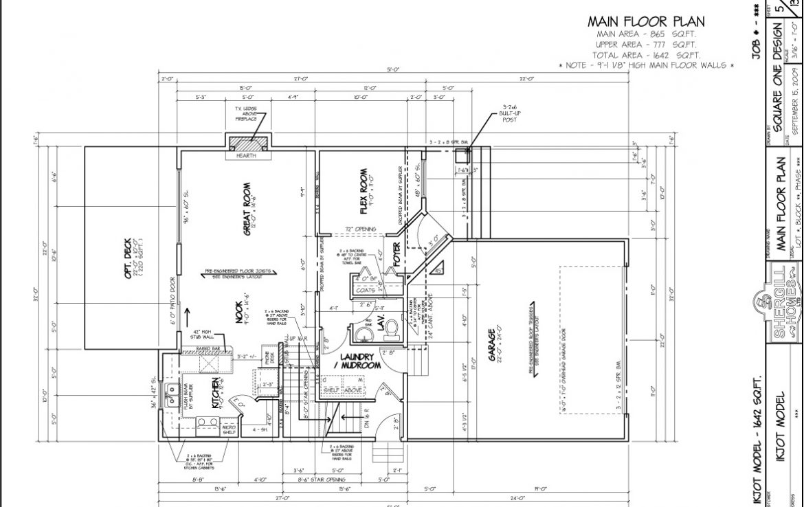 Shergill Homes - Plans for Fort McMurray / Fort Mac; Two Storey IKJOT 1642 sq ft main floor plan