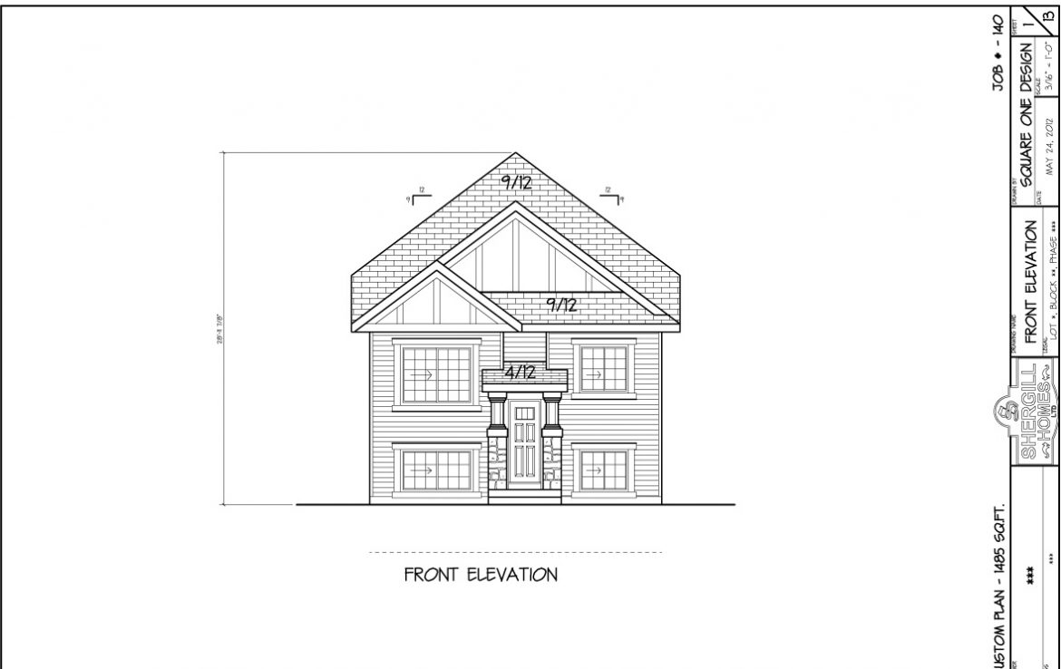Shergill Homes - Plans for Fort McMurray / Fort Mac; ;Two Storey Modified Bungalow 1485 sq. ft Front View