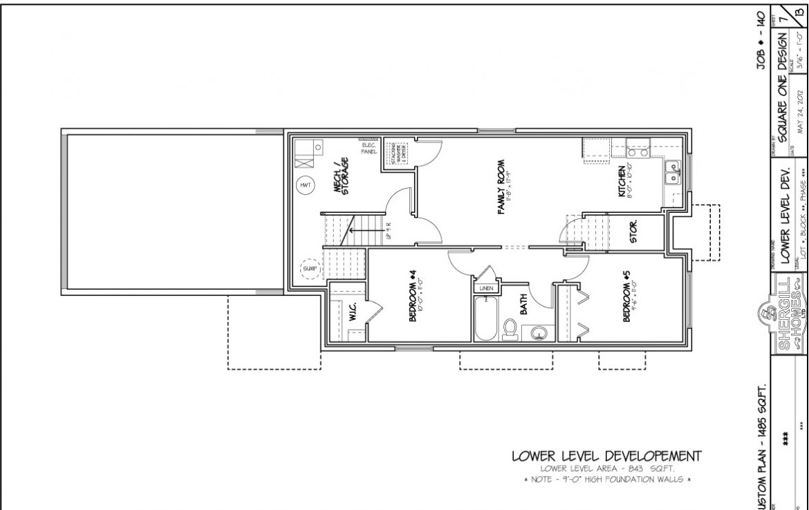 Shergill Homes - Plans for Fort McMurray / Fort Mac; Two Storey Modified Bungalow 1485 sq. ft lower floorplan
