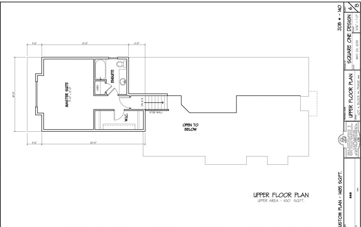 Shergill Homes - Plans for Fort McMurray / Fort Mac; Two Storey Modified Bungalow 1485 sq. ft upper floorplan