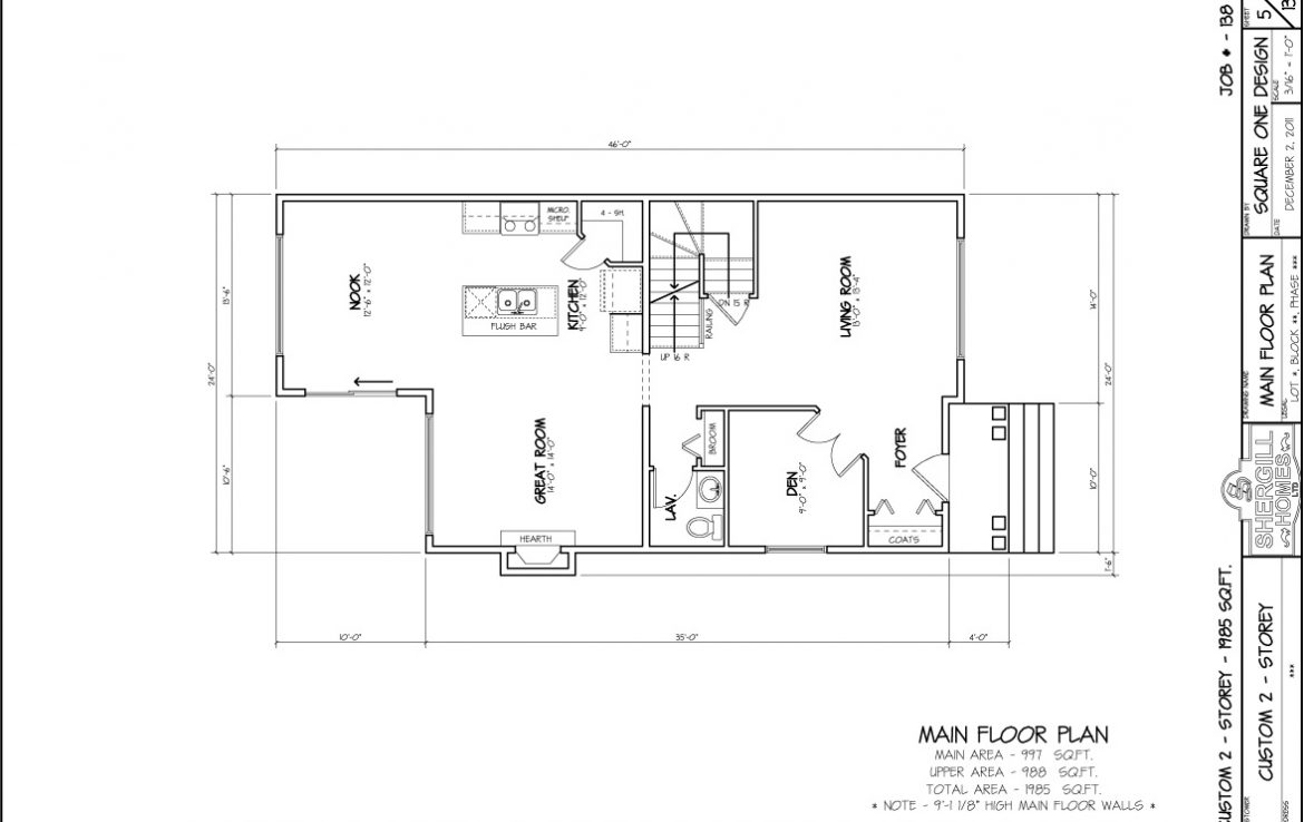 Shergill Homes - Plans for Fort McMurray / Fort Mac; ; Two Storey 1985 sq ft 4 bedroom no garage main floor plan