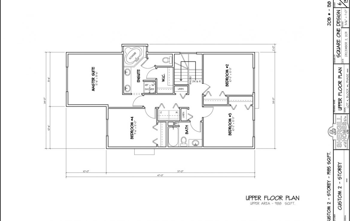 Shergill Homes - Plans for Fort McMurray / Fort Mac; Two Storey 1985 sq ft 4 bedroom no garage upper floor plan