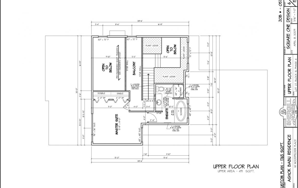 Shergill Homes - Plans for Fort McMurray / Fort Mac; Two Storey 1765 sq ft Upper Floor Plan
